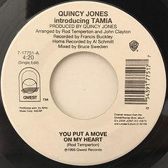 QUINCY JONES FEATURING TAMIA:YOU PUT A MOVE ON MY HEART(LABEL SIDE-A)