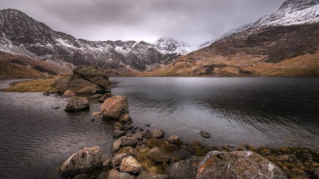 As the wind blows....Llyn Llydaw. Snowdonia.