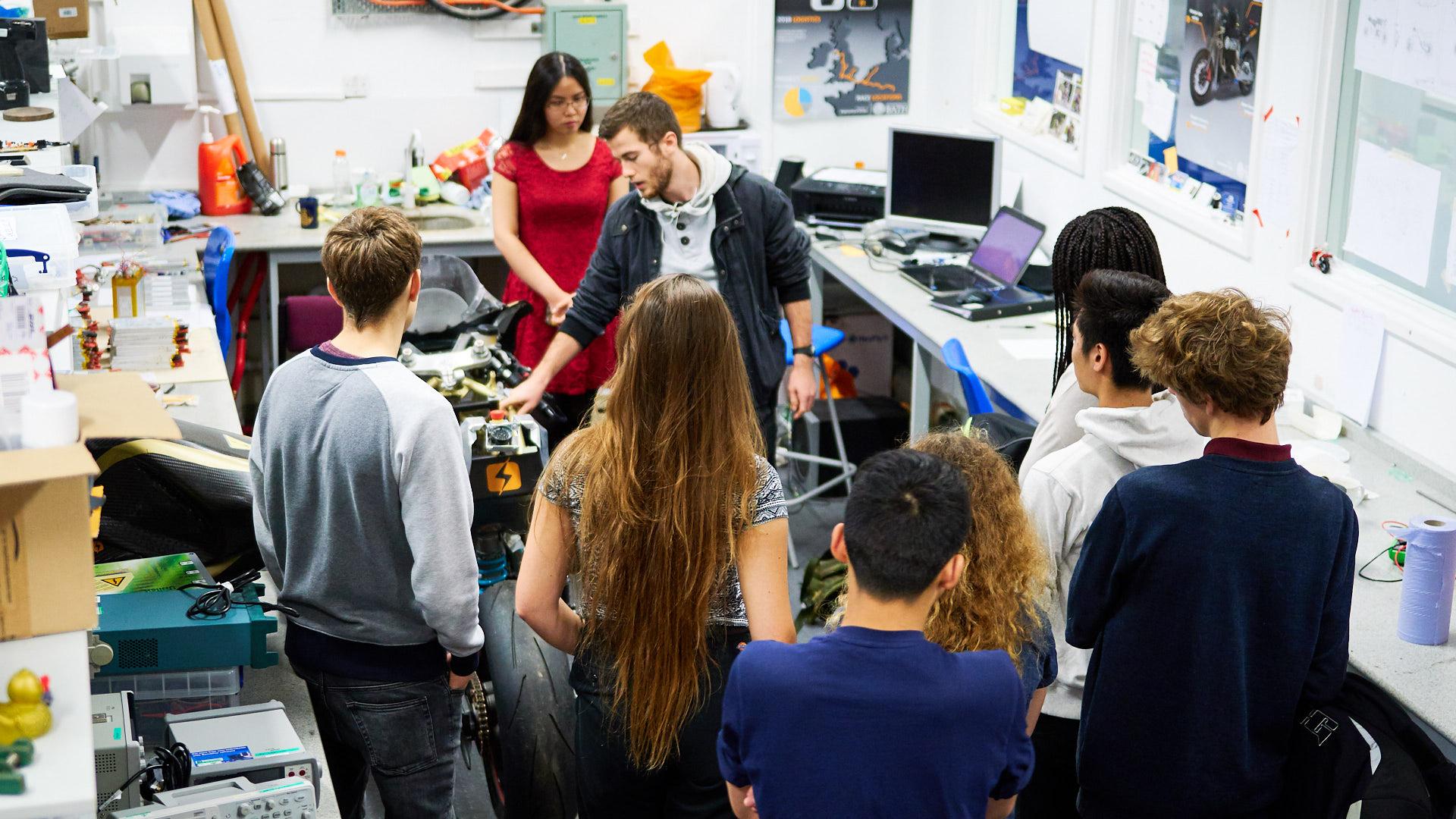 Prospective students visit a Mech Eng lab