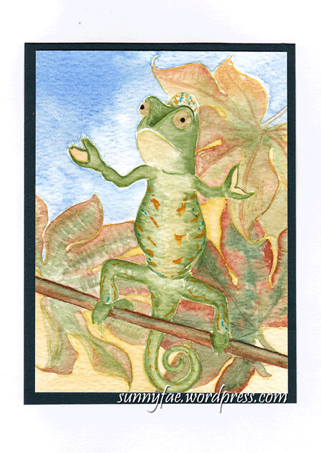 dancing chameleon watercolour card
