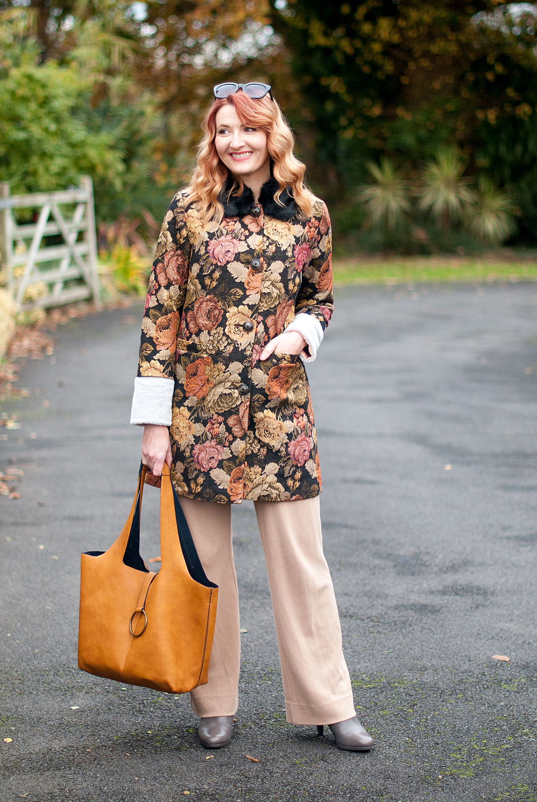 Autumn dressing, fall outfits, winter florals: Floral tapestry coat with fur collar, wide leg camel trousers, grey ankle boots | Not Dressed As Lamb, over 40 fashion
