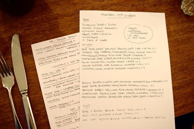 Handwritten Lunch Menu at DUCKSOUP, Soho | www.rachelphipps.com @rachelphipps