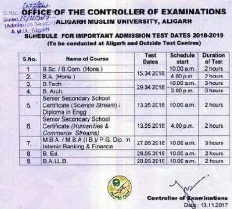 AMU Exam 2018 Schedule Released