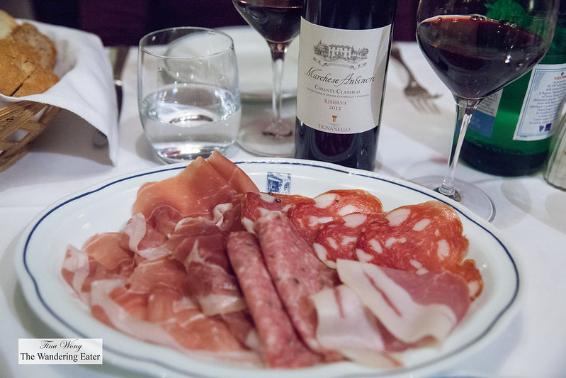 Salami and ham plate with our Chianti wine