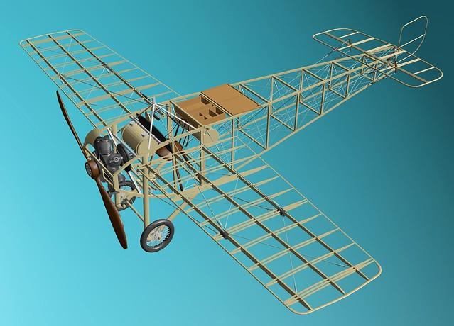 Hanriot-Ponnier race monoplane - 1911, 3D model