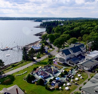 Oceanfront ceremony and cocktail hour for 250 guests at Spruce Point Inn Resort.