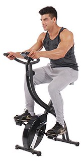 Cheap PLENY Foldable Upright Stationary Exercise Bike with 16 Level Resistance, Hand Pulse (Black)