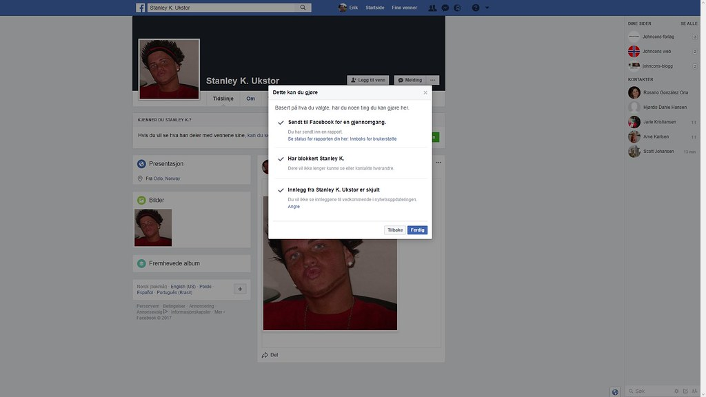 rapporterte en falsk konto til facebook