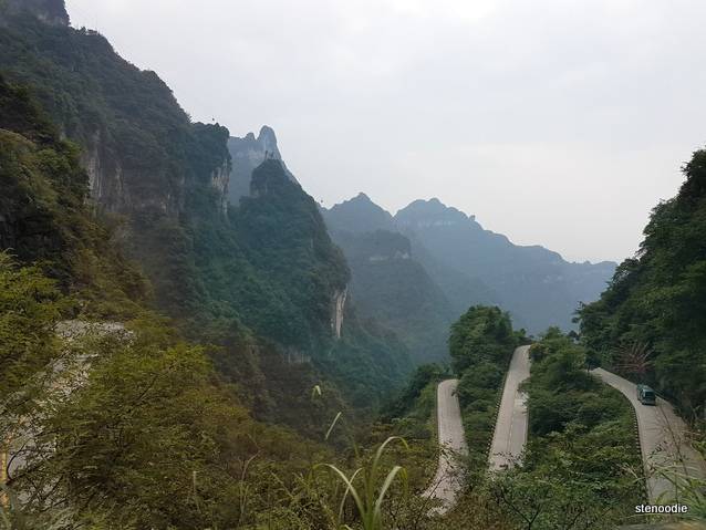 Tianmen Mountain curved roads