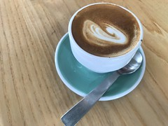A nice piccolo at Acme & Co's HQ: Prefab Cafe, Wellington