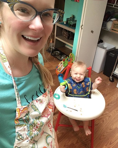 Cooking with Goo: I put him in his high chair in the center of the kitchen and narrate while I cook...I'm expecting him to start preparing meals for me REAL soon! 😜