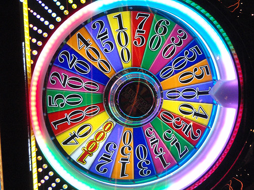 A neon roulette wheel in Las Vegas in the American Southwest
