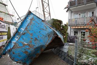 Baukran auf Häuser gestürzt Flörsheim-Wicker 04.12.17