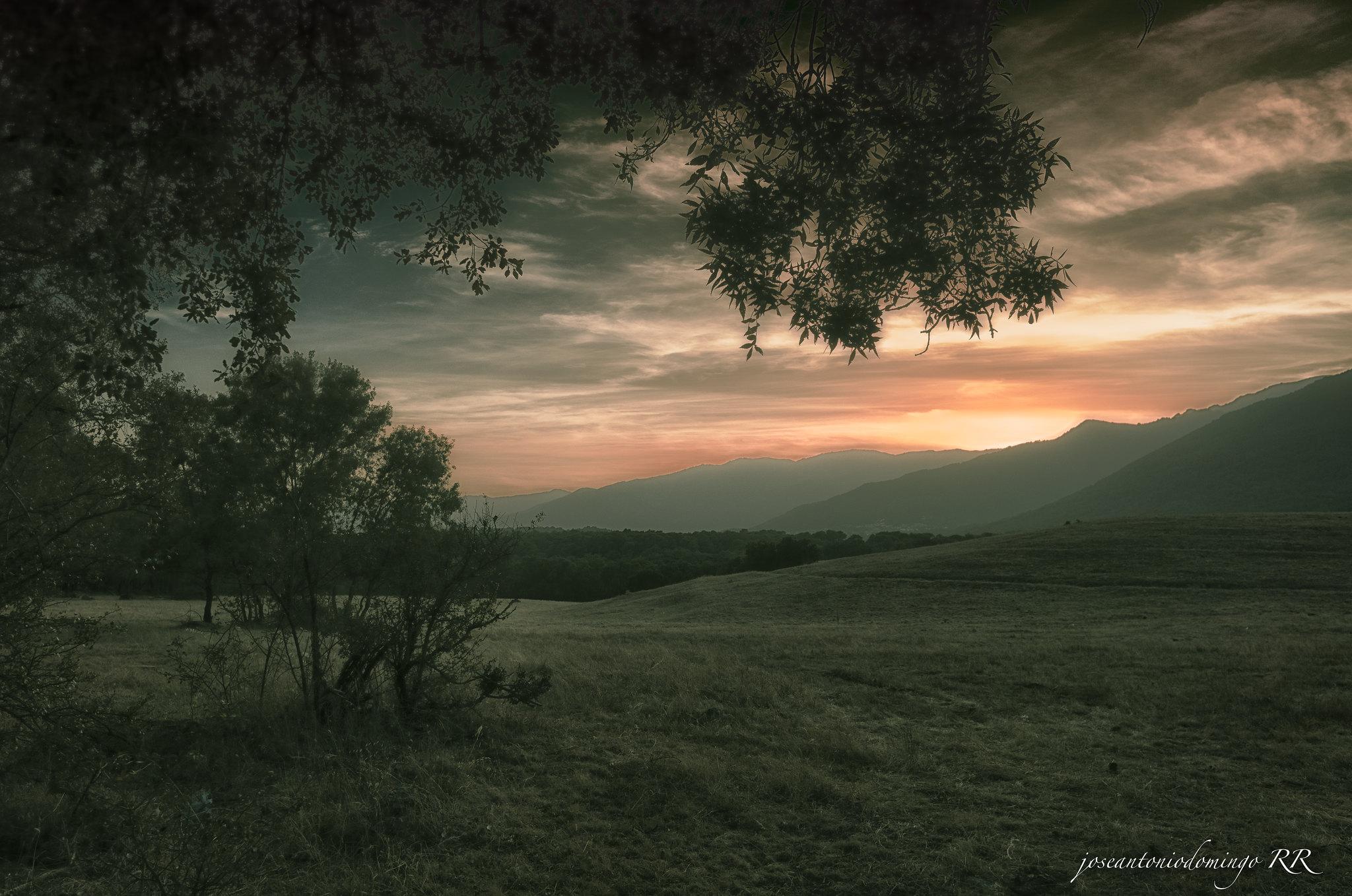 Campos de La Adrada al anochecer