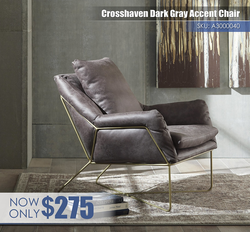 A3000040 - Crosshaven Dark Gray Accent Chair $275