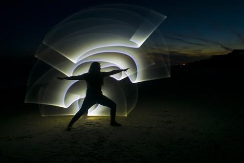 lightpaint beach sand yoga warrior pose night sunset topsailisland