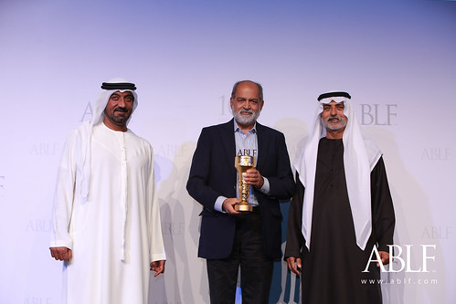 Adil Zainulbhai, Chairman, Quality Council of India, receiving the ABLF Outstanding Business Achiever Award from H.H. Sheikh Nahayan Mabarak Al Nahayan, Cabinet Member and Minister of Tolerance, UAE