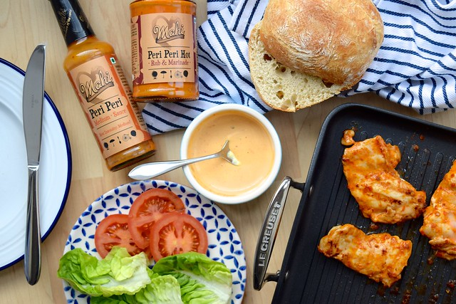 Cheeky Peri Peri Chicken Burgers with Mahi Fine Foods #recipe #diy #burger #periperi #chicken #weeknight | www.rachelphipps.com @rachelphipps