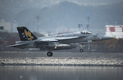 An F/A-18E Super Hornet from Strike Fighter Squadron (VFA) 115 prepares to land at Marine Corps Air Station Iwakuni, Nov. 28. (U.S. Marine Corps/Cpl. Donato Maffin)