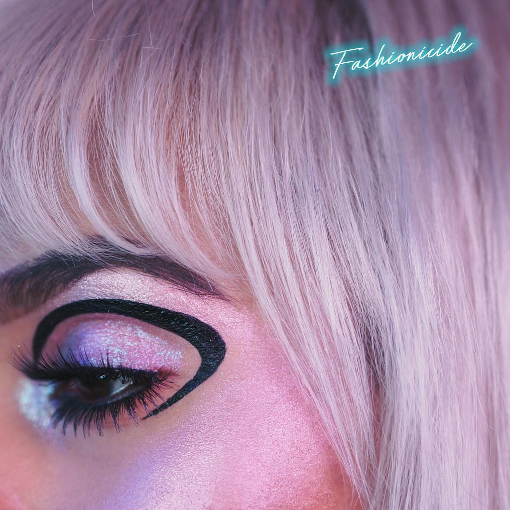 Lime Crime Diamond Crushers Unicorn highlighter palette On Eyes Makeup Look Close up dark Skin