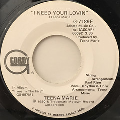 TEENA MARIE:I NEED YOUR LOVIN'(LABEL SIDE-A)