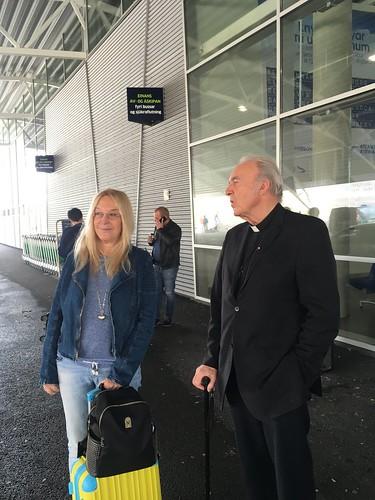 Fr. Paul Marx greets Vassula at the airport