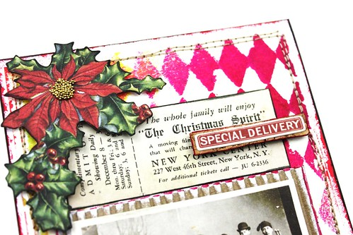 Meihsia Liu Simply Paper Crafts mixed media card Christmas Stitching Simon Says Stamp Monday Challenge Tim Holtz 4