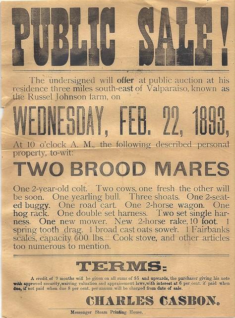 Casbon Charles public sale flyer 1893