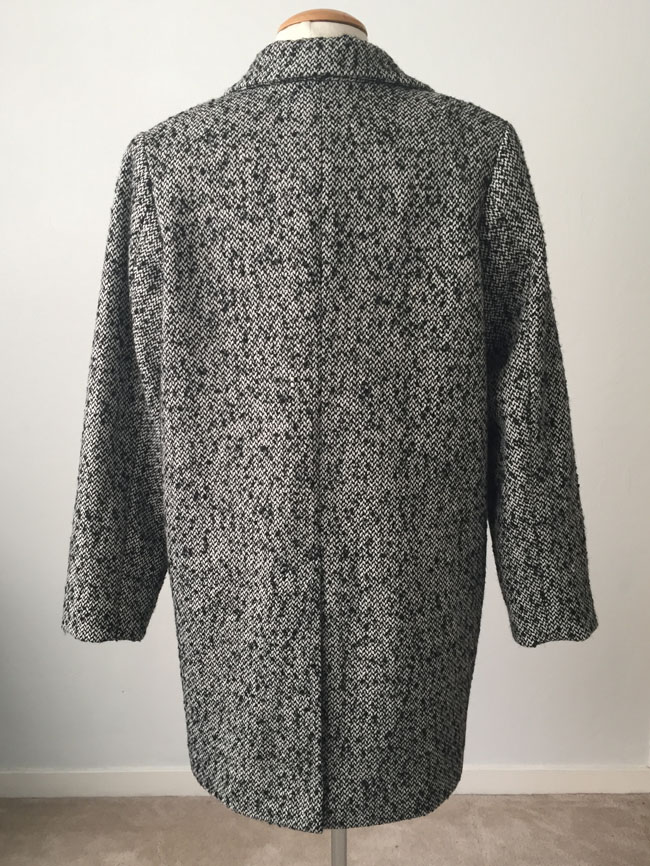 bamboo coat on form back view
