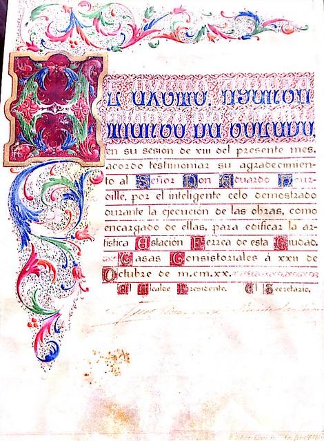 Diploma del Ayuntamiento de Toledo a Edouard Hourdillé en 1920.  Donación de David Pinaquy Hourdillé.