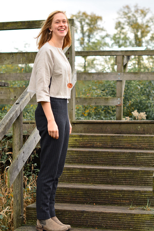 Glitter top and high waisted Burda pants