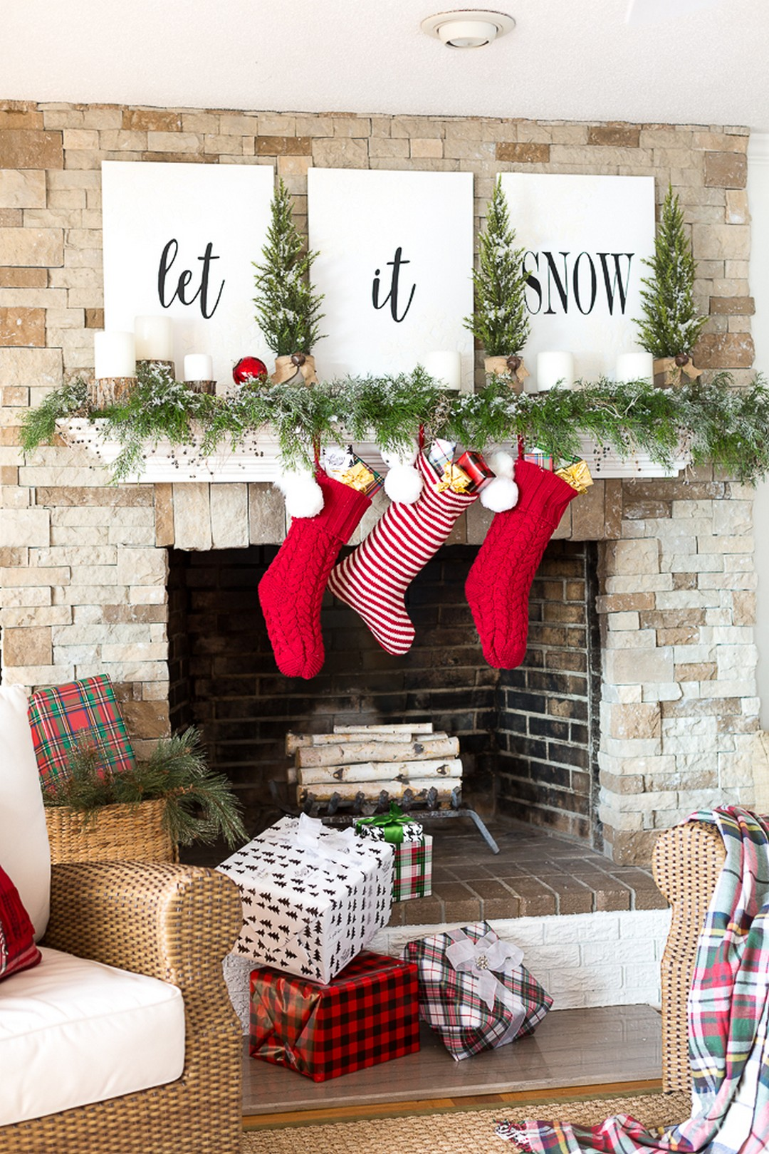Christmas Mantle Decorating Let It Snow DIY Sign Festive Stockings