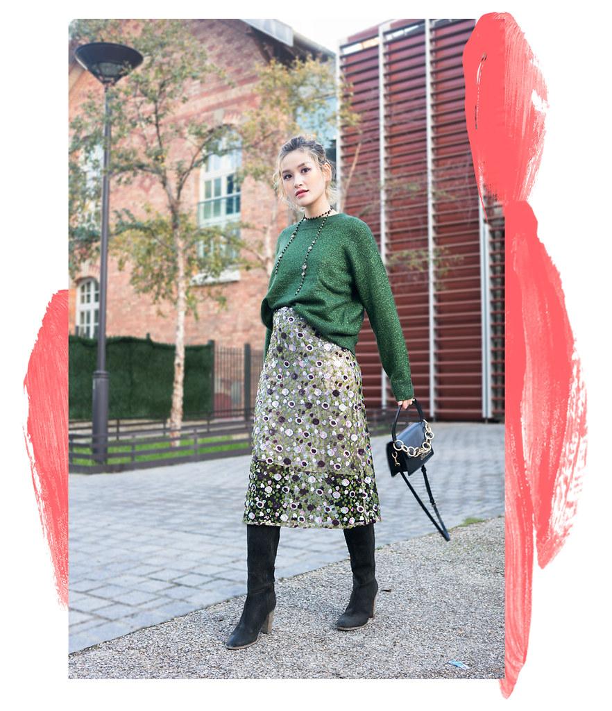 hm-sweater + sequin skirt
