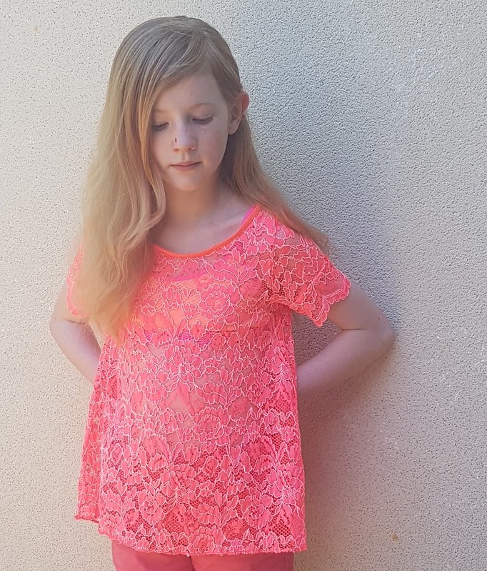 Hey June Patterns Woodstock tee in fluoro stretch lace from Darn Cheap Fabrics