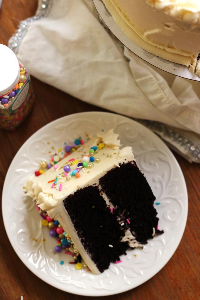 Black Chocolate Stout Cake with Caramel Cream Cheese Buttercream