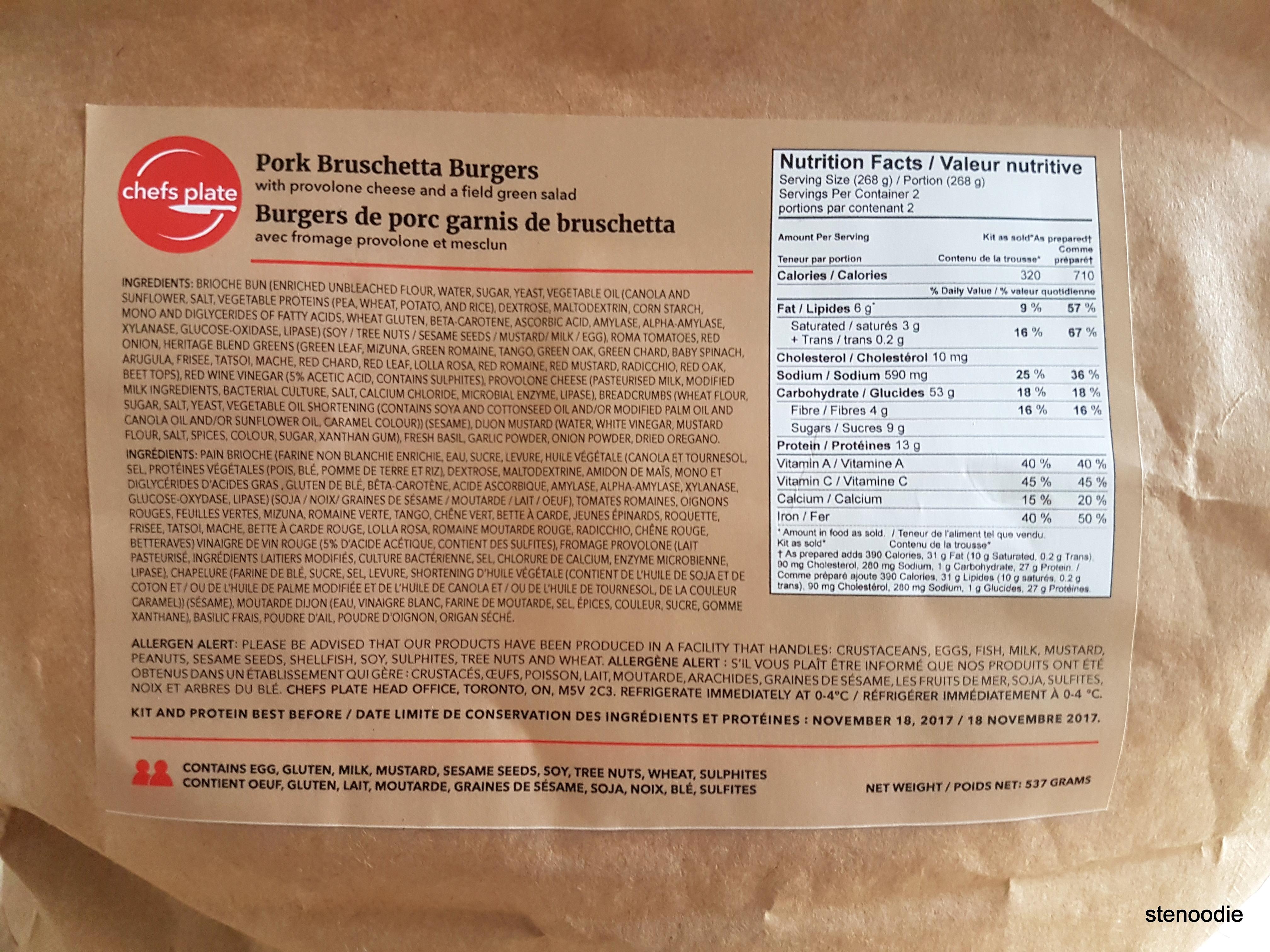 Pork Bruschetta Burgers nutrition information