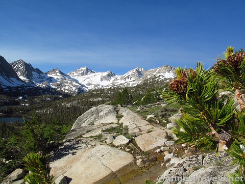 Views over the Little Lakes Basin to beautiful peaks on the Mono Pass Trail, Inyo National Forest, California