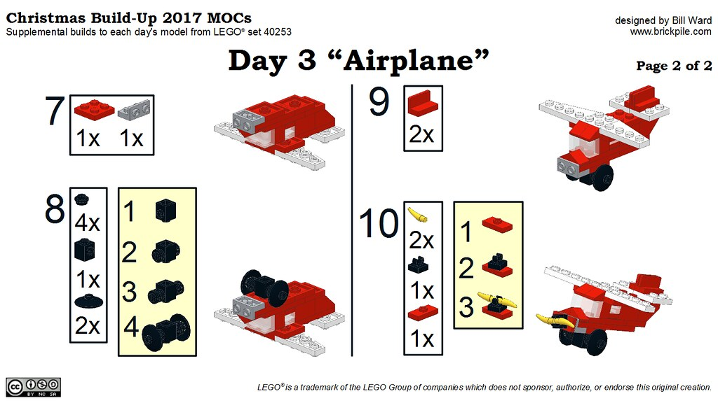 "Christmas Build-Up 2017 Day 3 MOC ""Airplane"" Instructions p2"
