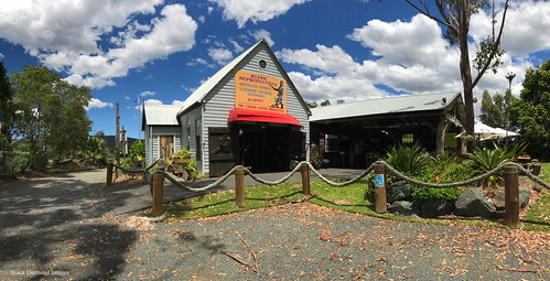 Back of the Salty Dog Seafood Cafe and Rustic Reproductions Gallery at Coolongolook, just South of Nabiac, NSW