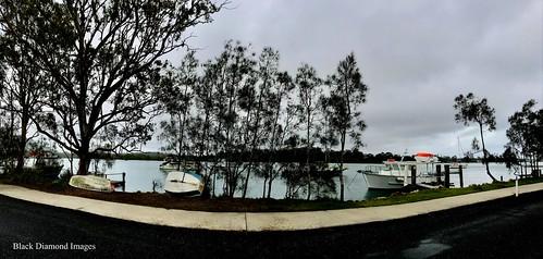 Boats and Camden Haven River at Dunbogan, Mid North Coast, NSW