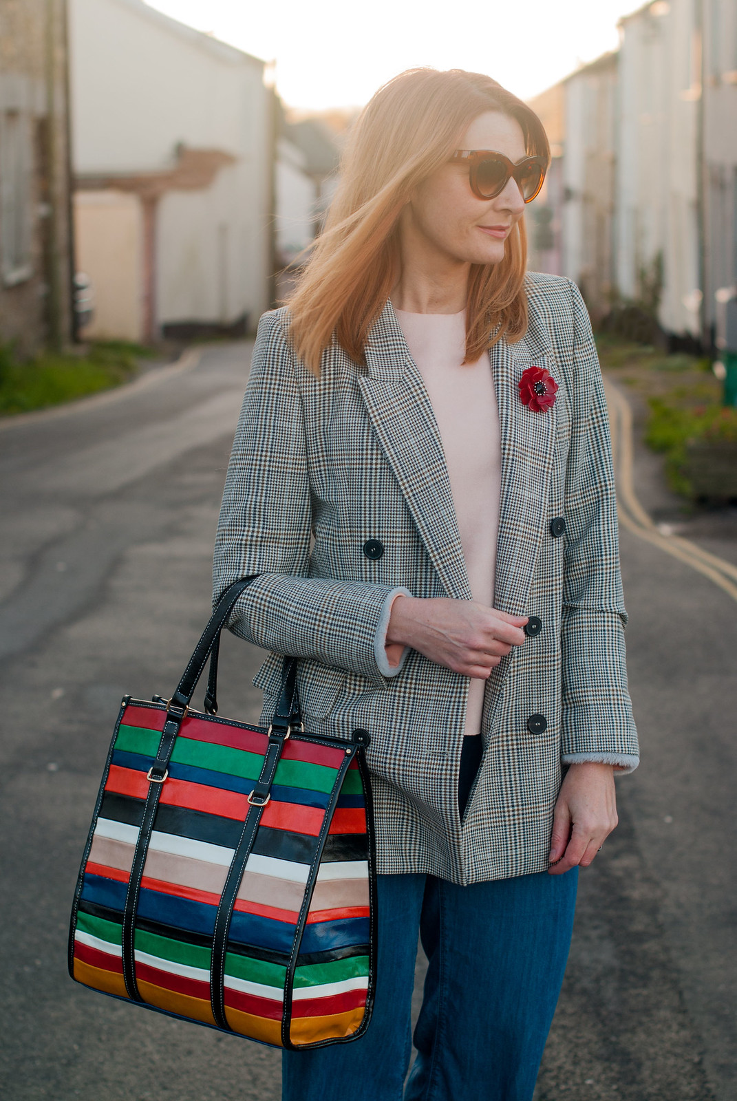 The Prince of Wales check blazer trend, AW17: A Glen plaid blazer jacket styled with wide leg jeans, black ankle boots and a stripe Mango shopper bag | Not Dressed As Lamb, fashion for over 40 women
