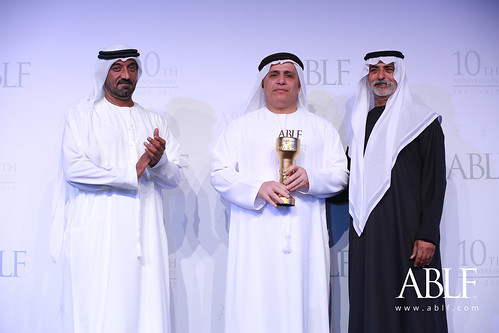 H.E. Matter Mohammed Al Tayer, Director General, Chairman of the Board Of Executive Directors, Roads and Transport Authority – Dubai, UAE, receiving the ABLF Outstanding Business Citizen Award from H.H. Sheikh Nahayan Mabarak Al Nahayan, Cabinet Member and Minister of Tolerance, UAE