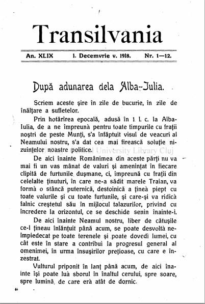 Front page of a Romanian newspaper on December 1, 1918.