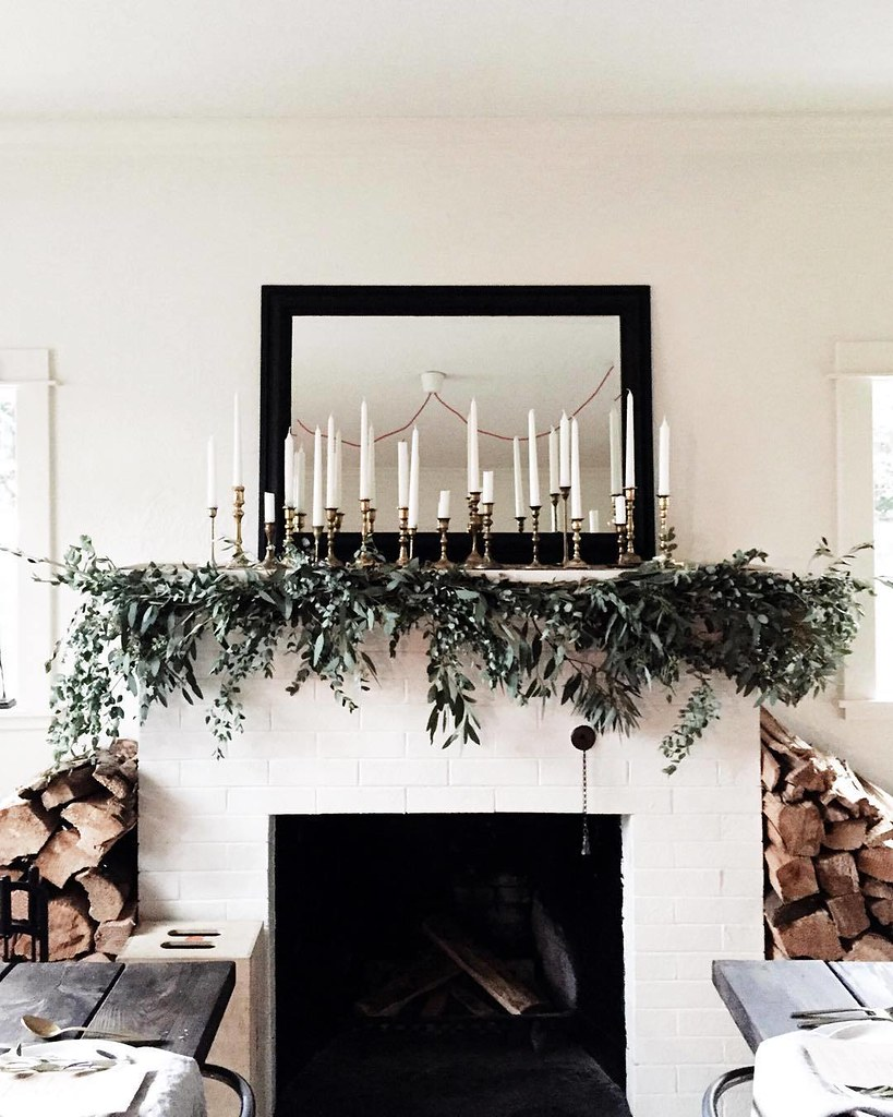 Classic Christmas Fireplace Mantle Ideas Garland Stemmed Candles Minimalist