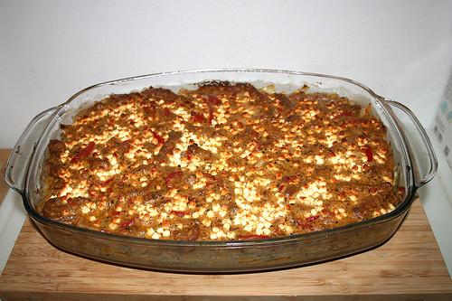 97 - Greek gyros cabbage casserole with tomato kritharaki - Finished baking / Griechischer Gyros-Kraut-Auflauf mit Tomaten-Kritharaki  - Fertig gebacken
