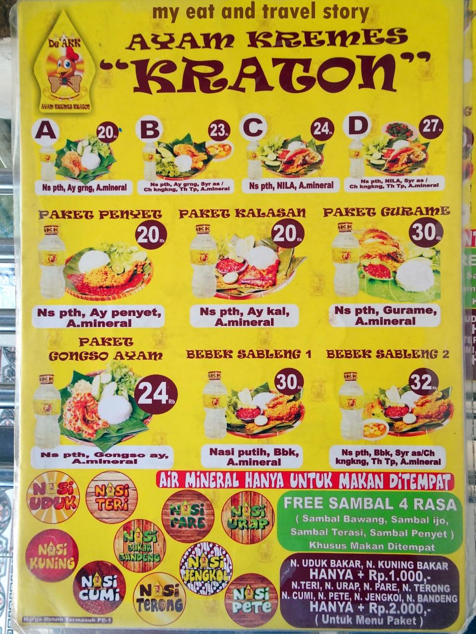 Makan Ayam Kremes Kraton Ditemani Berbagai Pilihan Sambel