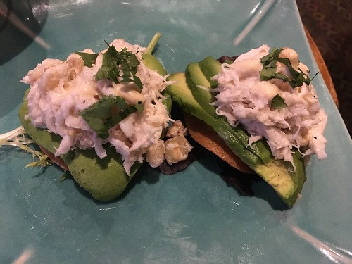 Crab and avocado on taro chips at Trader Vic's in Emeryville