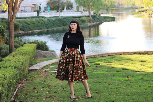Retrolicious Madison Skirt in Ornaments Print Voodoo Vixen Celine Top in Black