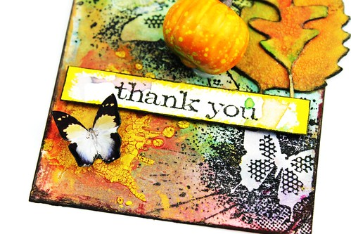 Meihsia Liu Simply Paper Crafts Mixed Media Tag Thank You IndigoBlu Simon Says Stamp Tim Holtz 4