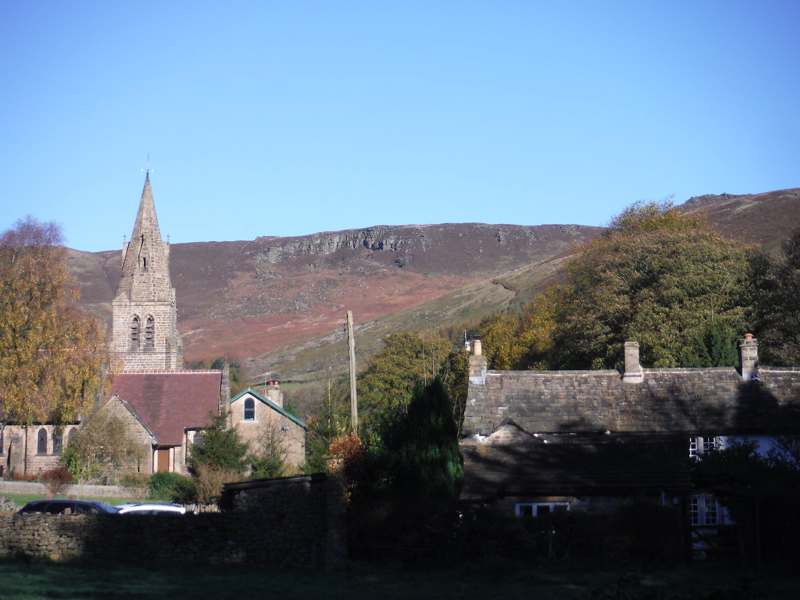 Edale Church and first view of the Edge SWC Walk 304 - Kinder Scout Circuit (from Edale)